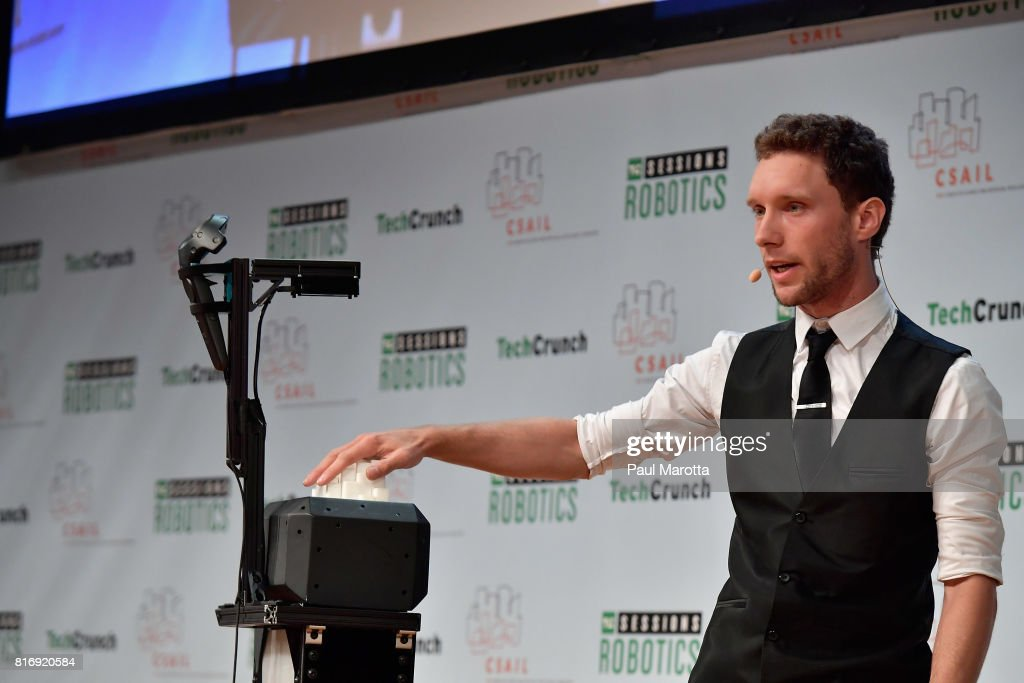 Daniel Fitzgerald competes at a Pitch-Off Session that includes judges Jeremy Conrad, Helen Greiner, Daniel Theobold and Melonee Wise at the TechCrunch Sessions: Robotics at Kresge Auditorium on July 17, 2017 in Cambridge, Massachusetts. TechCrunch Sessions: Robotics is a single-day event designed to facilitate in-depth conversation and networking with the technologists, researchers and students of the robotics community as well as the founders and investors and was attended by more than 700 people.
