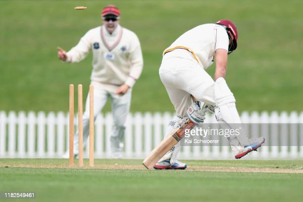 Daniel Flynn of Northern Districts is bowled by Edward Nuttall of Canterbury during the Plunket Shield match between Canterbury and Northern...