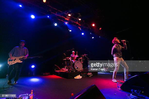 Daniel Fox Adam Faulkner and Dara Kiely of Girl Band performs at Vicar Street on April 1 2016 in Dublin Ireland