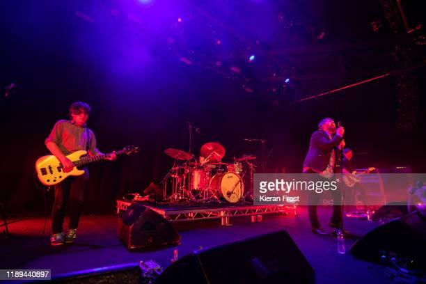 Daniel Fox and Dara Kiely of Girl Band perform live at Vicar Street on November 22, 2019 in Dublin, Ireland.
