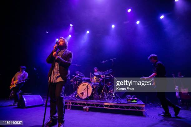 Daniel Fox Dara Kiely Adam Faulkner and Alan Duggan of Girl Band perform live at Vicar Street on November 22 2019 in Dublin Ireland