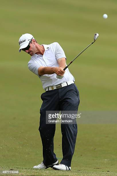 Daniel Fox of Australia plays a shot from the fairway during day one of the 2015 Australian Masters at Huntingdale Golf Course on November 19, 2015...