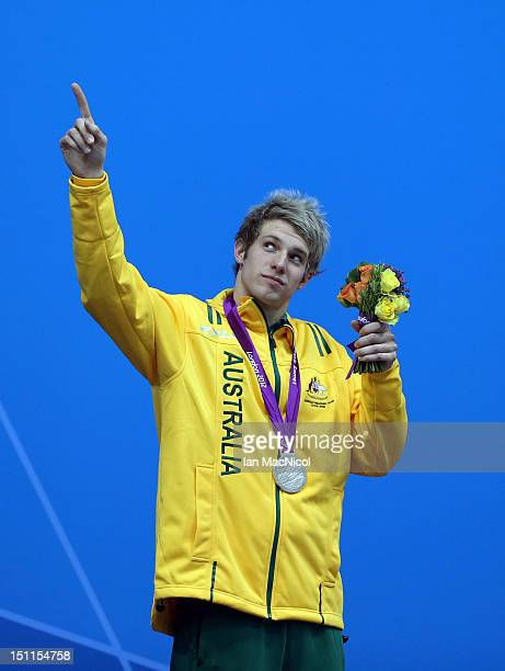 Daniel Fox of Australia with his Silver medal from the Men's 200m Freestyle - S14 on day four of the London 2012 Paralympic Games at the Aquatics...