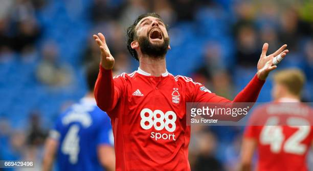 Daniel Fox of Forest reacts after a chance goes wide during the Sky Bet Championship match between Cardiff City and Nottingham Forest at Cardiff City...