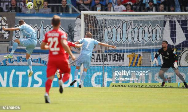 Daniel Frahn of Chemnitz scores the opening goal during the 3Liga match between Chemnitzer FC and FSV Zwickau at community4you Arena on July 23 2017...