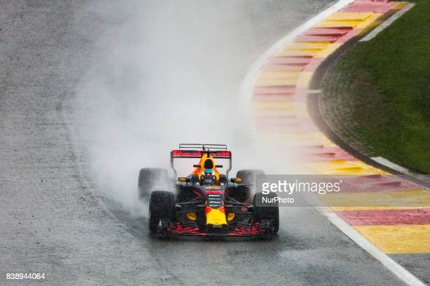 Daniel from Australia of Red Bull Tag Heuer with the extreme wet pirelli tyres under heavy rain at the end of FP2 during the Formula One Belgian...