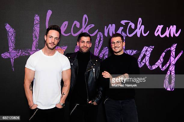 Daniel Fuchs Kosta Williams and Sandro attend the 'LECK MICH AM HASHTAG' brunch during MercedesBenz Fashion Week Berlin A/W 2017 on January 19 2017...