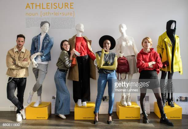 Daniel Fuchs Lena Lademann Nikeata Thomson and Lisa Banholzer attend the Athleisure popup event and exhibition at Wertheim Village on March 9 2017 in...