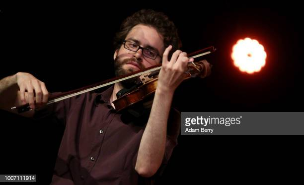 Daniel Fuchs of the band Siach HaSadeh performs during a concert at Yiddish Summer Weimar on July 28, 2018 in Weimar, Germany. The annual four-week...