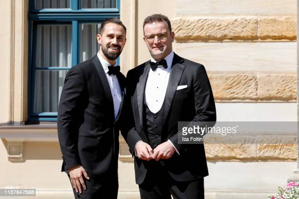 Daniel Funke and his husband German politician Jens Spahn during the Bayreuth Festival 2019 opening premiere Tannhaeuser at Bayreuth Festspielhaus on...