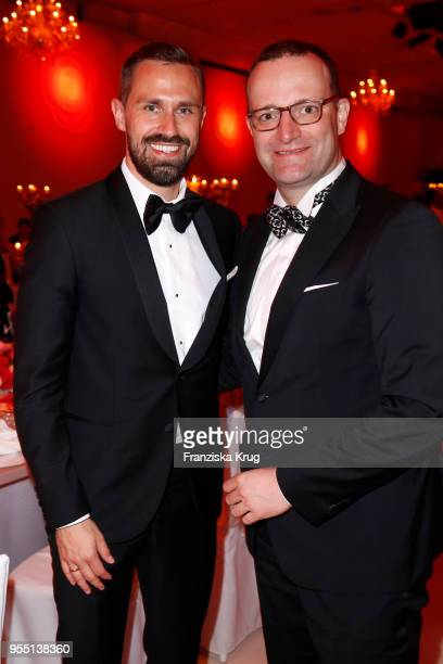Daniel Funke and Jens Spahn during the Rosenball charity event at Hotel Intercontinental on May 5 2018 in Berlin Germany