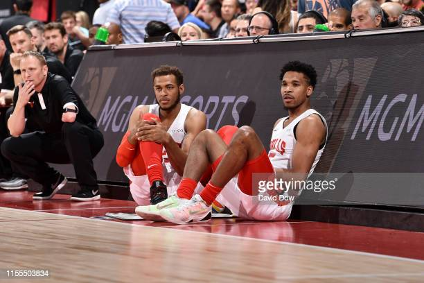 Daniel Gafford and Justin Simon of the Chicago Bulls look on during the game against the Orlando Magic on July 13 2019 at the Cox Pavilion in Las...