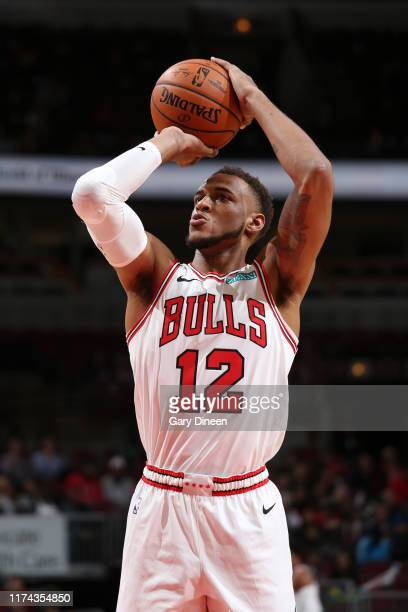 Daniel Gafford of Chicago Bulls shoots free throws against the Milwaukee Bucks on October 7, 2019 at the United Center in Chicago, Illinois. NOTE TO...