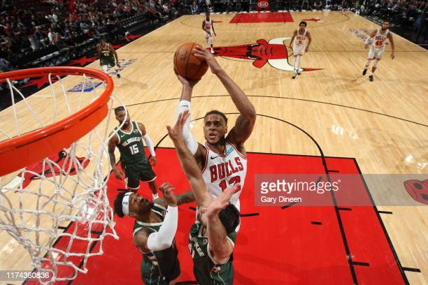 Daniel Gafford of Chicago Bulls shoots the ball against the Milwaukee Bucks on October 7, 2019 at the United Center in Chicago, Illinois. NOTE TO...