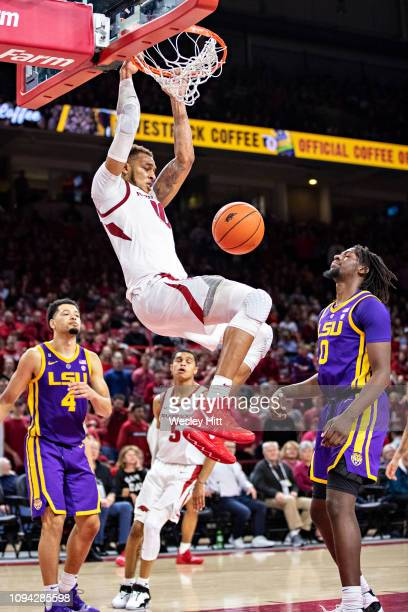 Daniel Gafford of the Arkansas Razorbacks dunks the ball during a game against the LSU Tigers at Bud Walton Arena on January 12 2019 in Fayetteville...