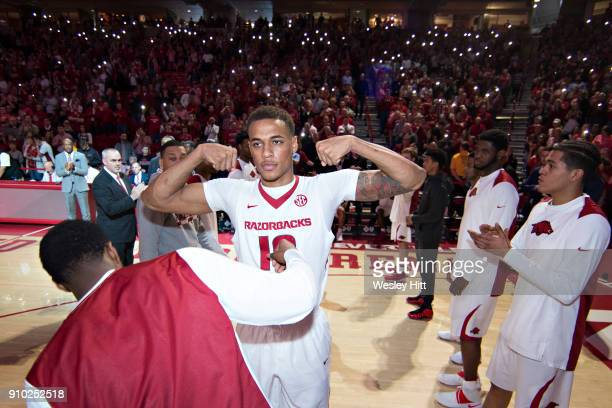 Daniel Gafford of the Arkansas Razorbacks during pregame ceremonies before a game against the Mississippi Rebels at Bud Walton Arena on January 20...