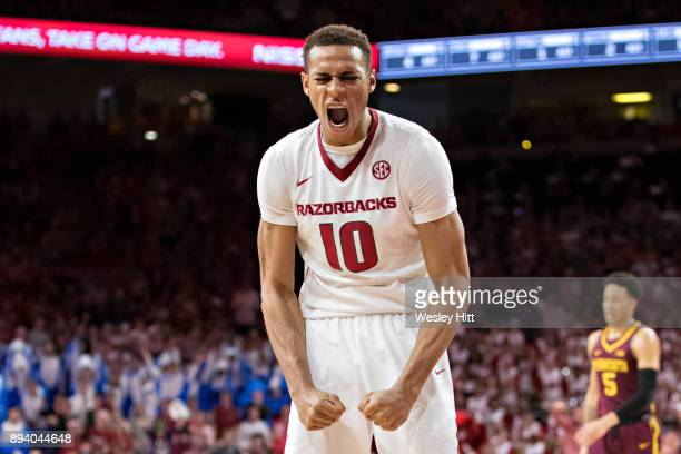 Daniel Gafford of the Arkansas Razorbacks gets excited during a game against the Minnesota Golden Gophers at Bud Walton Arena on December 9 2017 in...