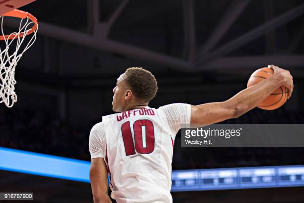 Daniel Gafford of the Arkansas Razorbacks goes up for a dunk during a game against the Vanderbilt Commodores at Bud Walton Arena on February 10 2018...