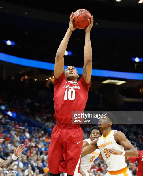 Daniel Gafford of the Arkansas Razorbacks grabs a rebound against the Tennessee Volunteers during the semifinals of the 2018 SEC Basketball...