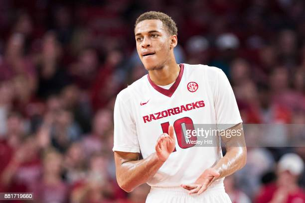 Daniel Gafford of the Arkansas Razorbacks on the court during a game against the Fresno State Bulldogs at Bud Walton Arena on November 17 2017 in...