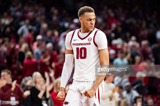 Daniel Gafford of the Arkansas Razorbacks reacts after a big play near the end of a game against the Vanderbilt Commodores at Bud Walton Arena on...