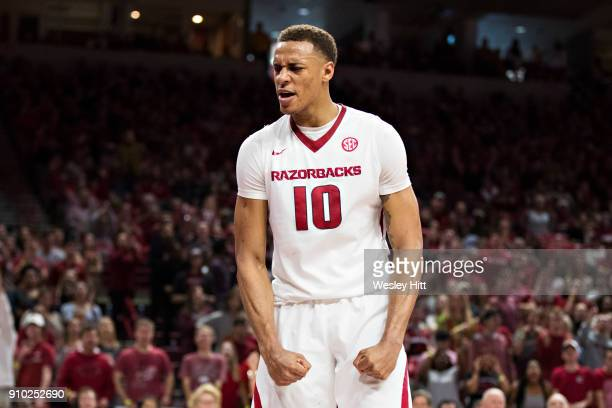 Daniel Gafford of the Arkansas Razorbacks reacts after blocking a shot during a game against the Mississippi Rebels at Bud Walton Arena on January 20...