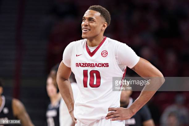 Daniel Gafford of the Arkansas Razorbacks reacts to a foul call during a game against the South Carolina Gamecocks at Bud Walton Arena on February 6...