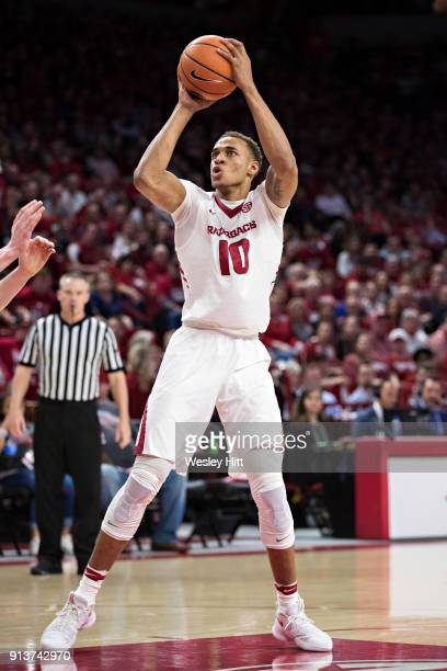 Daniel Gafford of the Arkansas Razorbacks shoots a jump shot during a game against the Oklahoma State Cowboys at Bud Walton Arena on January 27 2018...