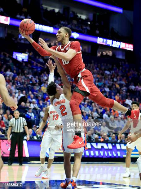 Daniel Gafford of the Arkansas Razorbacks shoots the ball against the Florida Gators during the second round of the SEC Basketball Tournament at...