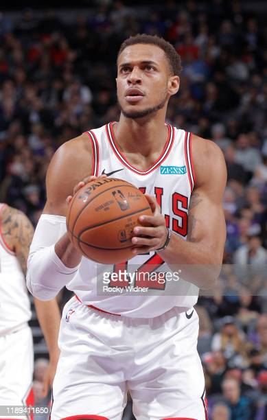 Daniel Gafford of the Chicago Bulls attempts a free-throw shot against the Sacramento Kings on December 2, 2019 at Golden 1 Center in Sacramento,...