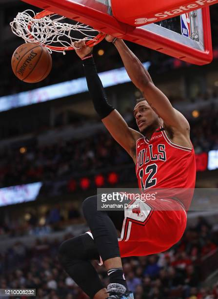 Daniel Gafford of the Chicago Bulls dunks against the Dallas Mavericks at the United Center on March 02, 2020 in Chicago, Illinois. The Bulls...