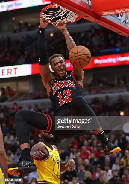 Daniel Gafford of the Chicago Bulls dunks against the Golden State Warriors at United Center on December 06, 2019 in Chicago, Illinois. NOTE TO USER:...