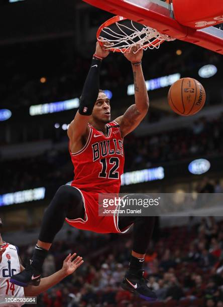 Daniel Gafford of the Chicago Bulls dunks against the Washington Wizards at the United Center on February 23, 2020 in Chicago, Illinois. The Bulls...