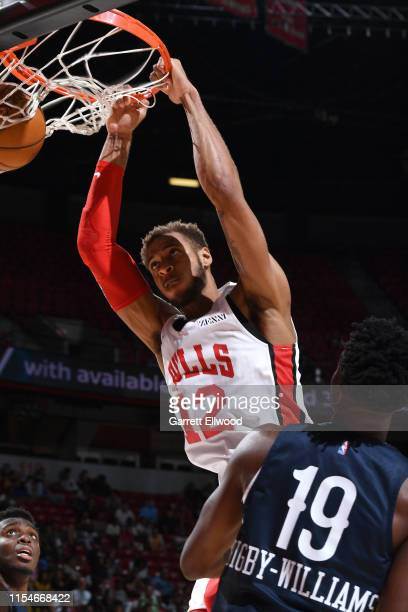 Daniel Gafford of the Chicago Bulls dunks the ball against the New Orleans Pelicans on July 8 2019 at the Thomas Mack Center in Las Vegas Nevada NOTE...