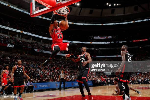 Daniel Gafford of the Chicago Bulls dunks the ball against the Toronto Raptors on December 9, 2019 at United Center in Chicago, Illinois. NOTE TO...