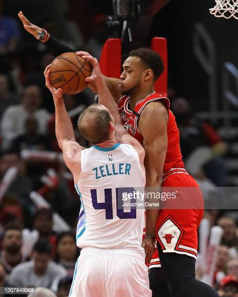 Daniel Gafford of the Chicago Bulls fouls Cody Zeller of the Charlotte Hornets at the United Center on February 20, 2020 in Chicago, Illinois. The...