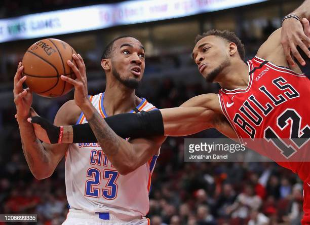 Daniel Gafford of the Chicago Bulls fouls Terrance Ferguson of the Oklahoma City Thunder at the United Center on February 25, 2020 in Chicago,...