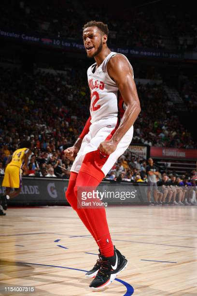 Daniel Gafford of the Chicago Bulls gets hyped during the game against the Los Angeles Lakers during Day 1 of the 2019 Las Vegas Summer League on...