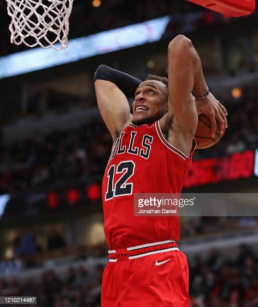Daniel Gafford of the Chicago Bulls goes up for a dunk against the Dallas Mavericks at the United Center on March 02, 2020 in Chicago, Illinois. The...