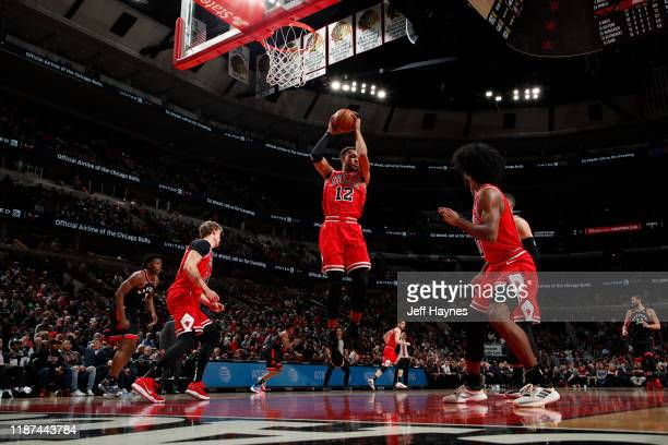 Daniel Gafford of the Chicago Bulls grabs the rebound against the Chicago Bulls on December 9, 2019 at United Center in Chicago, Illinois. NOTE TO...