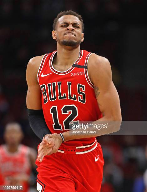 Daniel Gafford of the Chicago Bulls leaves the game after suffering an apparent compound fracture of his right thumb early in a game against the...