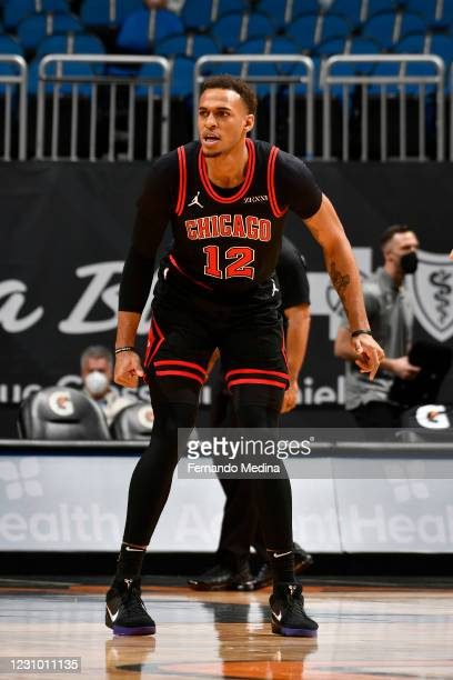 Daniel Gafford of the Chicago Bulls looks on during the game against the Orlando Magic on February 6, 2021 at Amway Center in Orlando, Florida. NOTE...