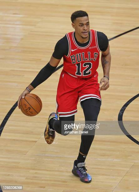 Daniel Gafford of the Chicago Bulls moves up the court against the Atlanta Hawks at the United Center on December 23, 2020 in Chicago, Illinois. NOTE...