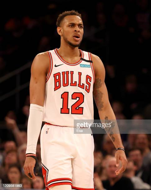 Daniel Gafford of the Chicago Bulls reacts in the second half against the New York Knicks at Madison Square Garden on February 29, 2020 in New York...