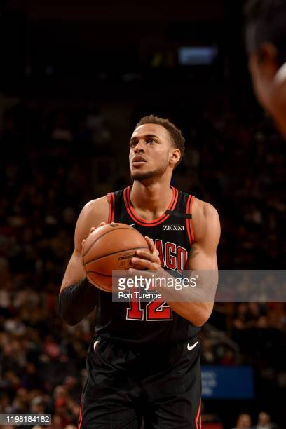 Daniel Gafford of the Chicago Bulls shoots a free throw during a game against the Toronto Raptors on February 2, 2020 at the Scotiabank Arena in...