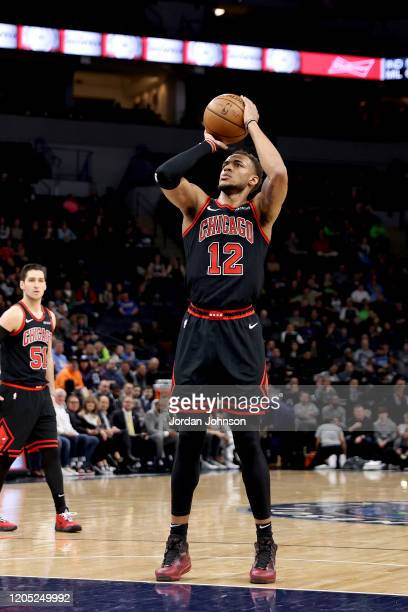 Daniel Gafford of the Chicago Bulls shoots a free throw during the game against the Minnesota Timberwolves on March 4, 2020 at Target Center in...