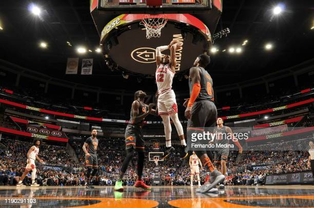 Daniel Gafford of the Chicago Bulls shoots the ball against the Orlando Magic on December 23, 2019 at Amway Center in Orlando, Florida. NOTE TO USER:...