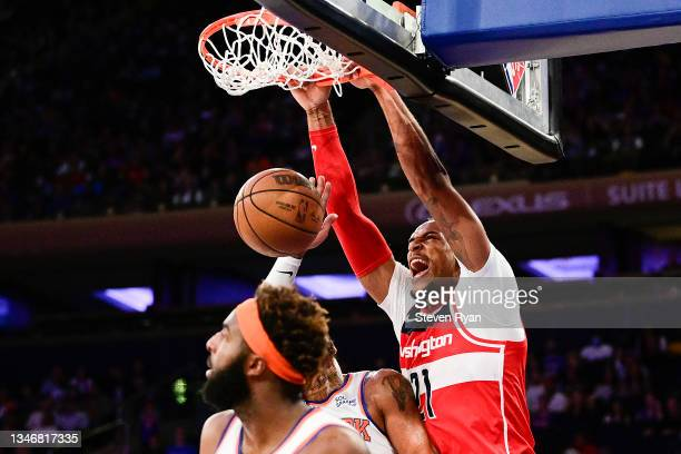 Daniel Gafford of the Washington Wizards dunks the ball against the New York Knicks during a preseason game at Madison Square Garden on October 15,...