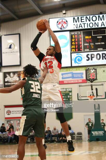 Daniel Gafford of the Windy City Bulls shoots against the Wisconsin Herd at Menominee Nation Arena on November 8, 2019 in Oshkosh, Wisconsin. NOTE TO...