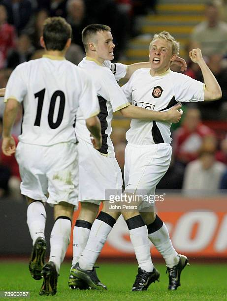 Daniel Galbraith of Manchester United celebrates Robbie Threlfall of Liverpool scoring an owngoal during the FA Youth Cup Final first leg match...